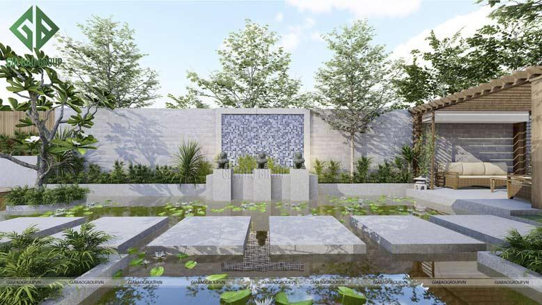 thiết kế sân hông vườn của biệt thự có hồ bơi