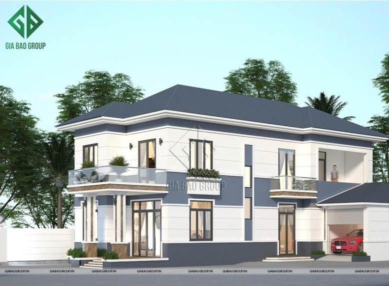 Thiết kế biệt thự mái ngói 2 tầng hiện đại đơn giản, trang nhã của gia đình chị Hân