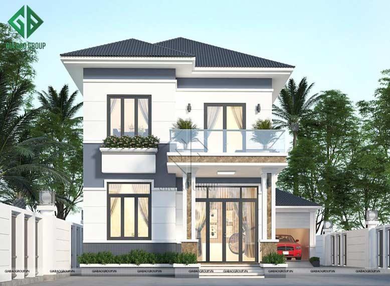Thiết kế biệt thự mái ngói 2 tầng hiện đại với mặt tiền nhẹ nhàng, thanh thoát