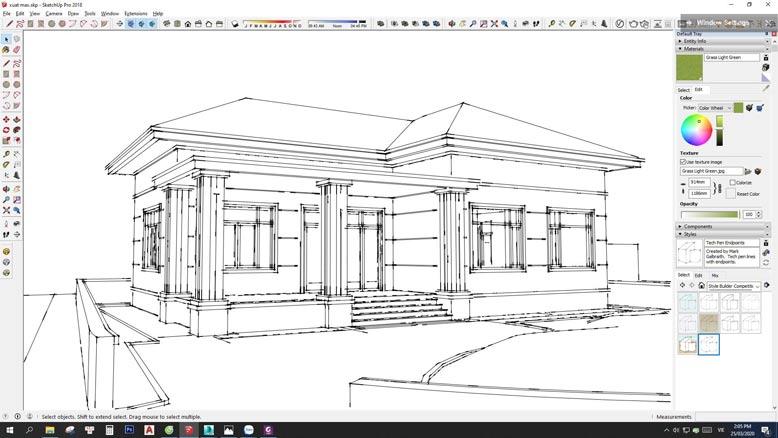 Kiến trúc các mặt của biệt thự nhà vườn mái Thái