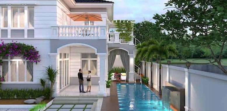 Thiết kế sân vườn, hồ bơi cho biệt thự tân cổ điển