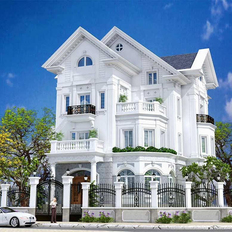 Biệt thự tân cổ điển 4 tầng mái Thái