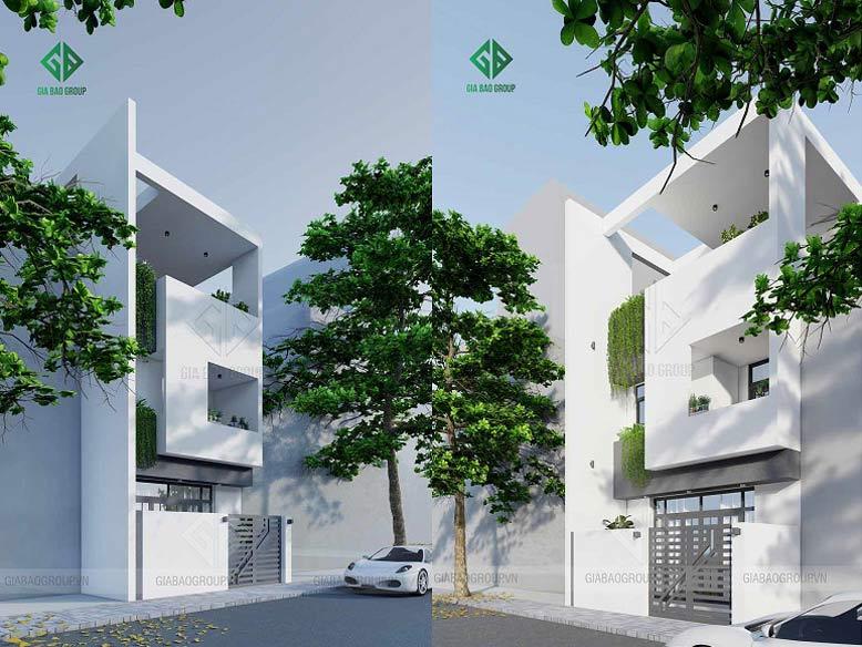 Thiết kế nhà phố 3 tầng theo kiến trúc hiện đại hình khối