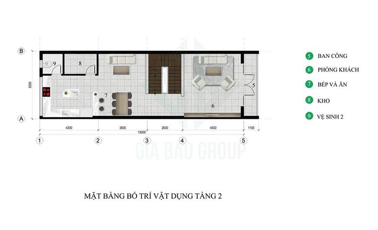 Thiết kế kiến trúc tầng 2 nhà phố 3 tầng hiện đại