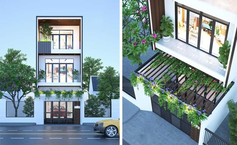 Màu sắc hài hòa nhà phố 3 tầng hiện đại đơn giản nhưng sang trọng