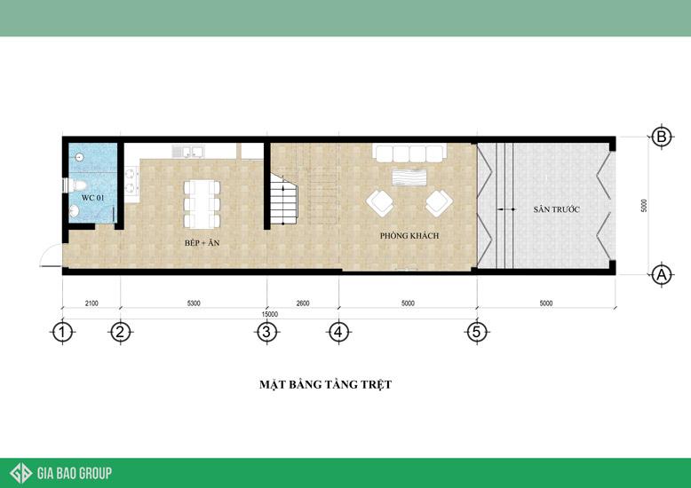 Bản vẽ thiết kế tầng trệt nhà ống 1 trệt 3 tầng