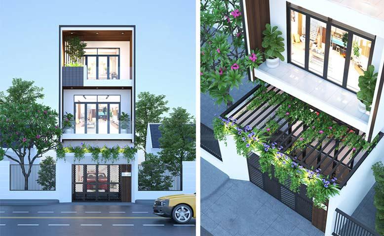 Phối cảnh thi công nhà phố 3 tầng hiện đại, gần gũi với thiên nhiên