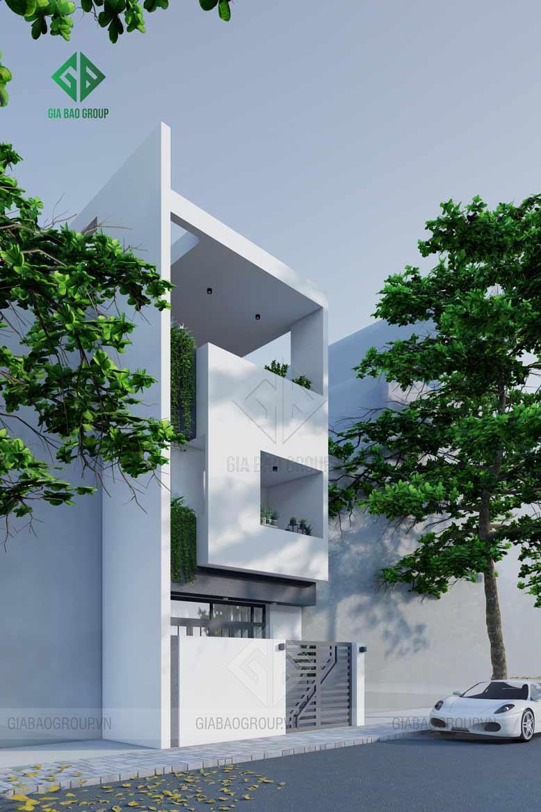 Thiết kế nhà phố 3 tầng với kiến trúc hiện đại hình khối sang trọng, tiện nghi