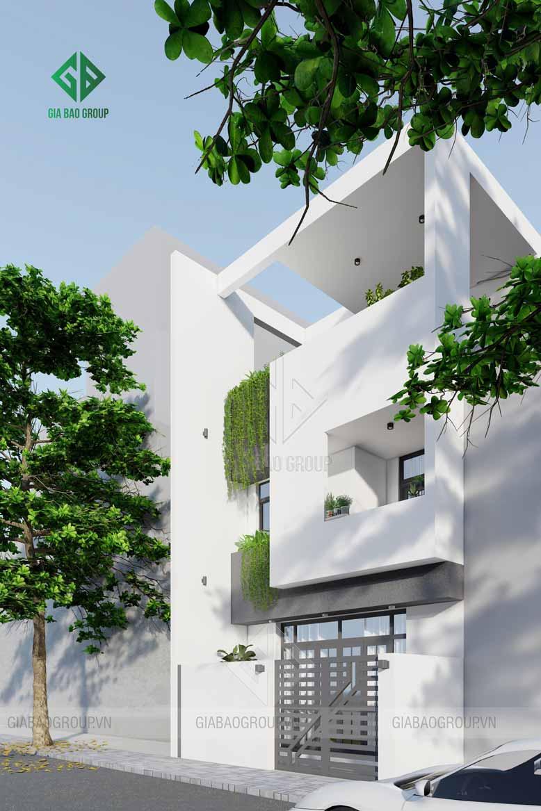 Thiết kế kiến trúc hiện đại hình khối của nhà phố 3 tầng phù hợp cho hoạt động kinh doanh hoặc sinh sống