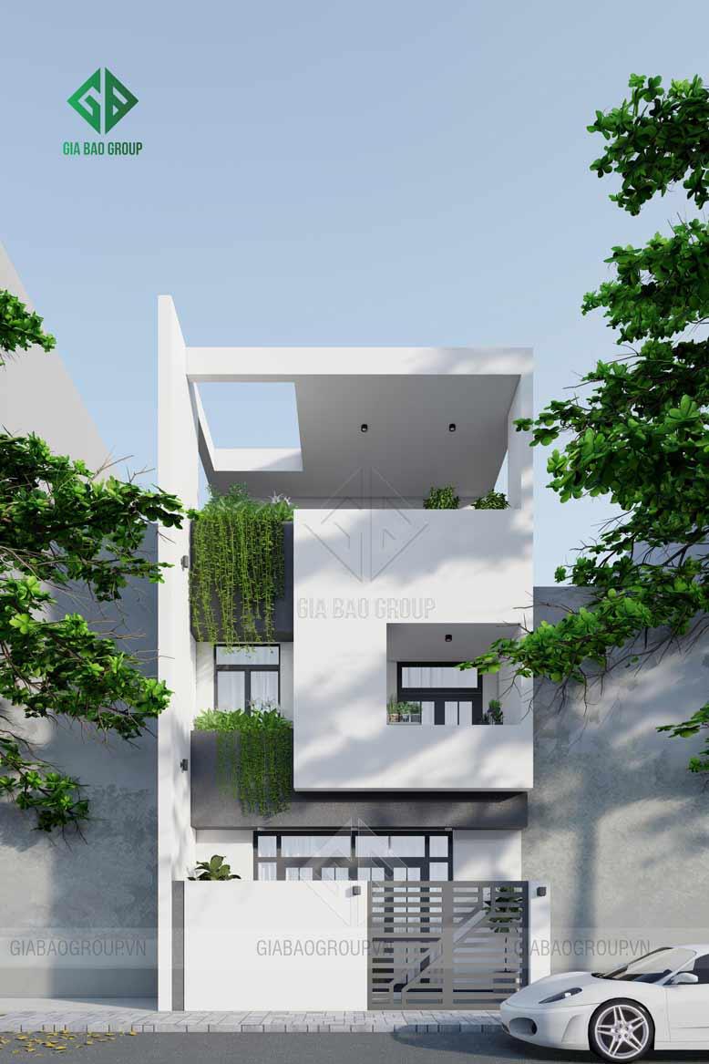 Nhà phố 3 tầng với kiến trúc hiện đại hình khối có kết cấu không quá cầu kì nhưng vẫn có nét độc đáo, cá tính riêng