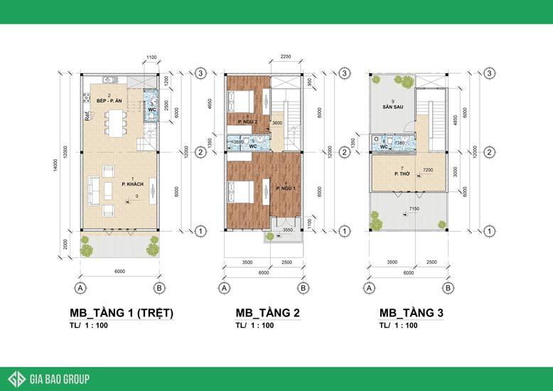 Bản vẽ thiết kế nhà phố 3 tầng với kiến trúc hiện đại hình khối được tối ưu không gian nhưng vẫn đáp ứng nhu cầu sinh hoạt của gia đình tốt nhất