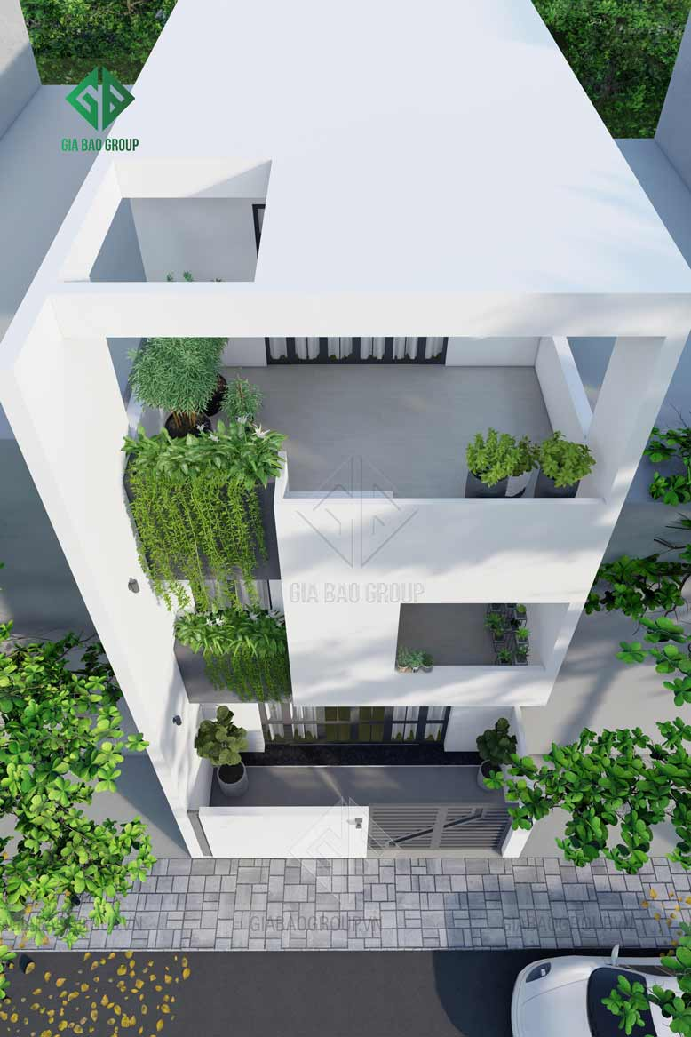 Tông màu chủ đạo của công trình nhà phố 3 tầng với kiến trúc hiện đại hình khối được kết hợp hài hoà, phù hợp xu hướng hiện đại