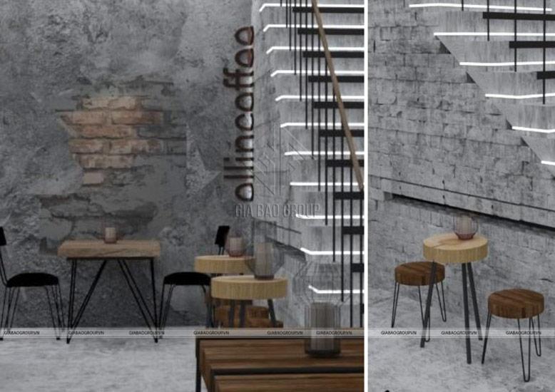 Điểm nhấn cầu thang trong thiết kế quán cafe siêu chất