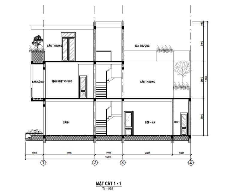 Tầng 3 của biệt thự 3 tầng đẹp