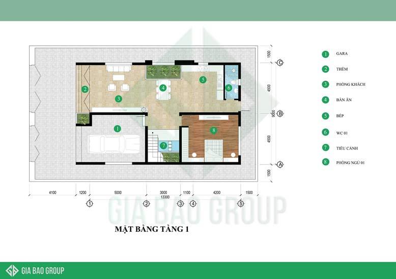 Bản vẽ mặt bằng tầng 1 có không gian thoáng đãng, gần gũi thiên nhiên là điểm nổi bật của mẫu biệt thự 3 tầng hiện đại đẹp