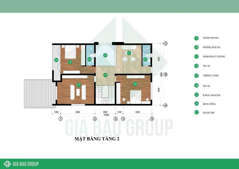 Mẫu biệt thự 3 tầng hiện đại đẹp - tầng 2 phù hợp để sinh hoạt gia đình, thư giãn