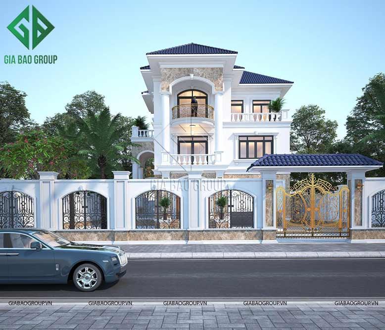 Thiết kế kiến trúc biệt thự tân cổ điển mái ngói đẹp, sang trọng