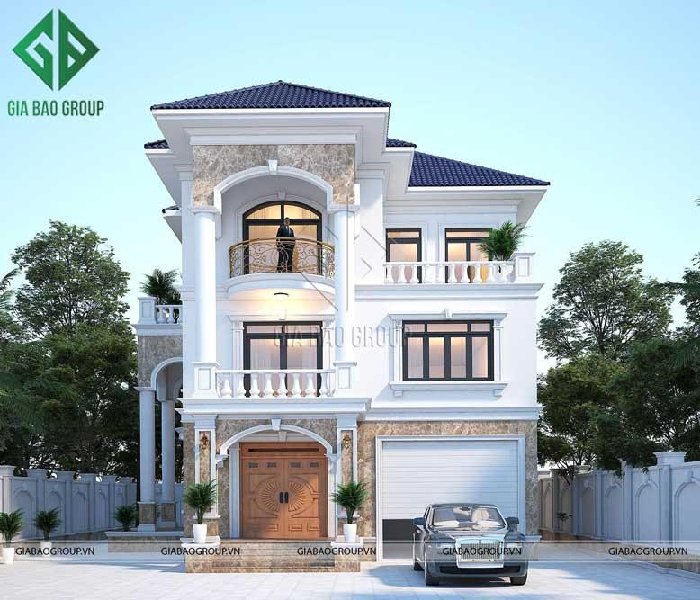 Thiết kế kiến trúc biệt thự tân cổ điển mái ngói bắt kịp xu hướng hiện đại, vật liệu bền bỉ, chắc chắn