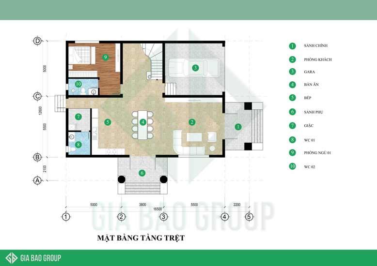 Bản vẽ thiết kế tầng trệt cho thiết kế kiến trúc biệt thự tân cổ điển mái ngói được tối ưu diện tích tạo cảm giác tiện lợi