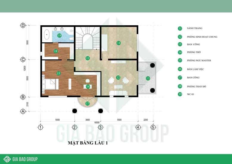 Mặt bằng lầu 1 thiết kế bố cục tiện nghi, phù hợp với nhu cầu của gia đình