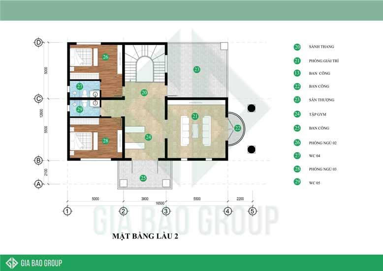 Mặt bằng lầu 2 được thiết kế bố cục phù hợp với sở thích sinh hoạt và yêu cầu của gia đình tạo cảm giác cân đối hợp lí