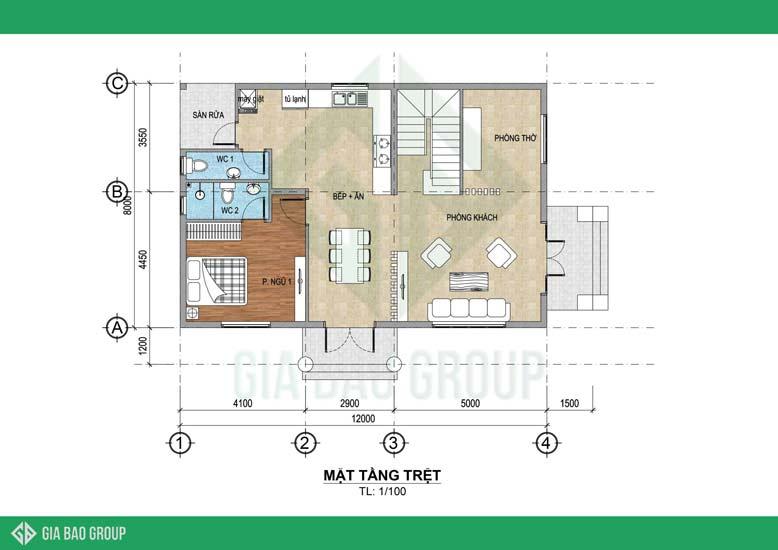 Bản vẽ mặt bằng tầng trệt mẫu nhà mái Thái 2 tầng 3 phòng ngủ