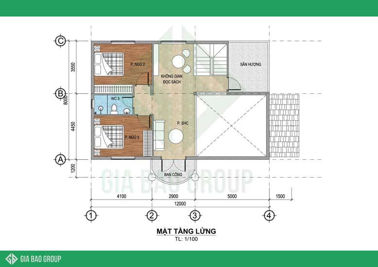 Mặt bằng tầng lửng - mẫu nhà mái Thái 2 tầng 3 phòng ngủ
