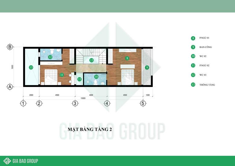 Mặt bằng tầng 2 của mẫu nhà phố 3 tầng hiên đại