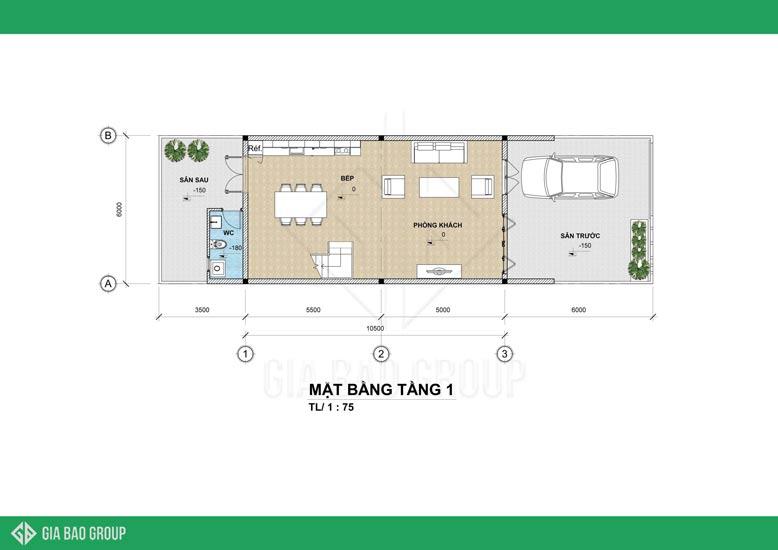 Mặt bằng tầng 1 - mẫu nhà phố hiện đại 2020