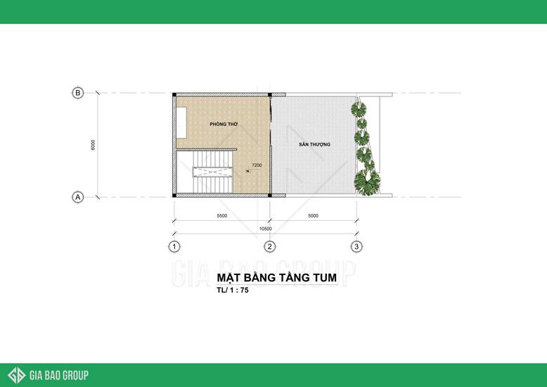 Mẫu nhà phố hiện đại 2020 - bản vẽ mặt bằng tầng tum với không gian xanh