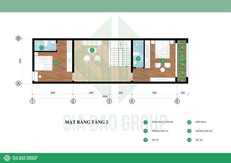Tầng 2 với không gian thoáng đãng của nhà phố hiện đại 4 tầng đẹp