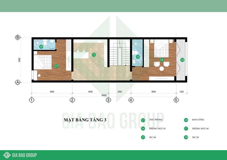 Bản vẽ mặt bằng tầng 3 của mẫu nhà phố hiện đại 4 tầng đẹp