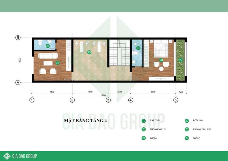 Mặt bằng tầng 4 được thiết kế phù hợp cho sinh hoạt của gia đình