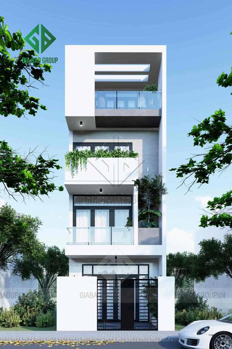 mẫu thiết kế nhà phố 1 trệt 3 lầu độc đáo và sáng tạo làm nên điểm nhấn riêng của ngôi nhà