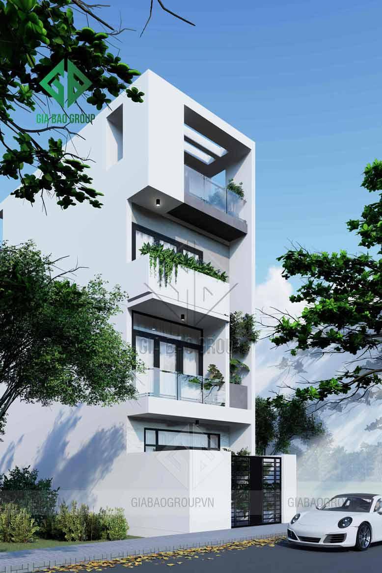 Sự hài hòa cân đối về kiến trúc nhà phố 1 trệt 3 lầu đẹp và hiện đại