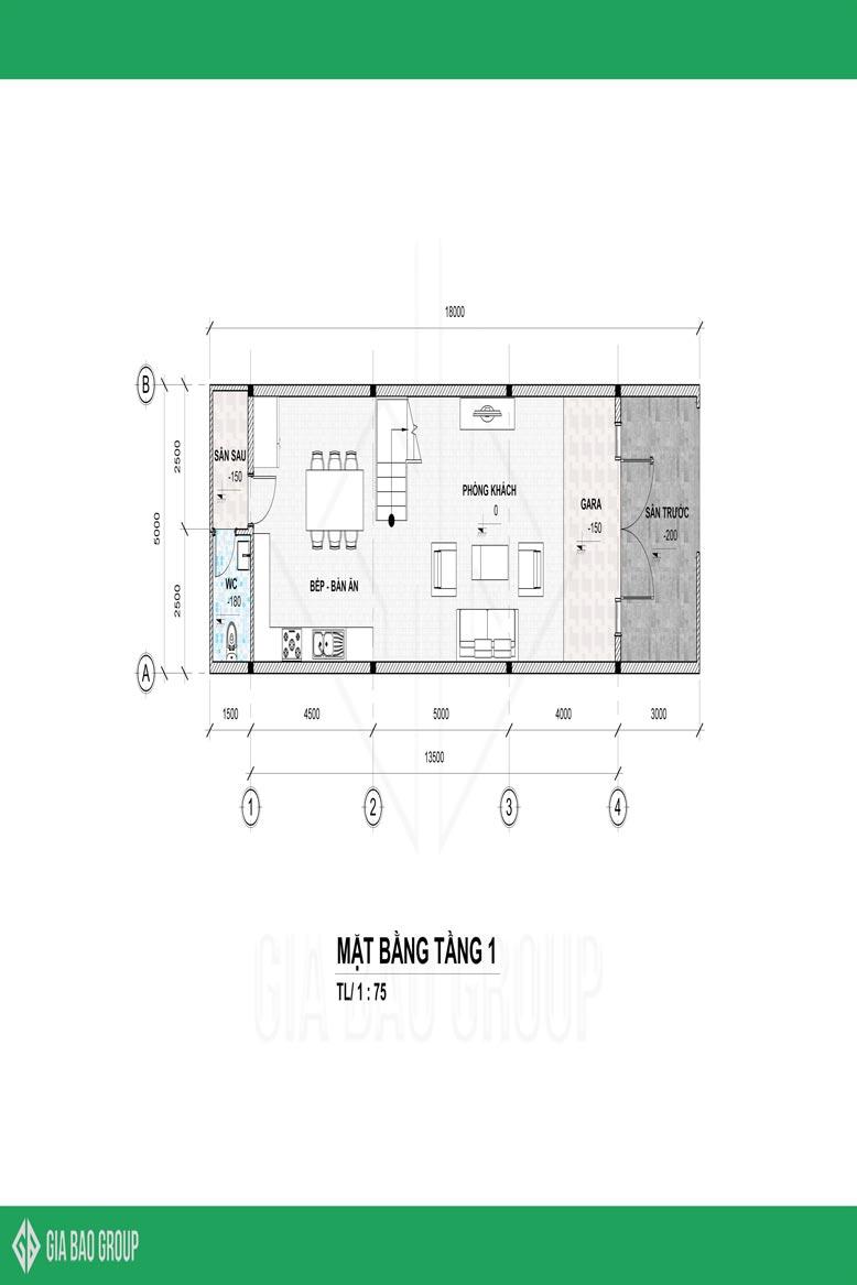 Bãn vẽ không gian tầng 1 được sắp xếp 1 cách hợp lý của mẫu thiết kế nhà phố 1 trệt 3 lầu đẹp tại đồng nai