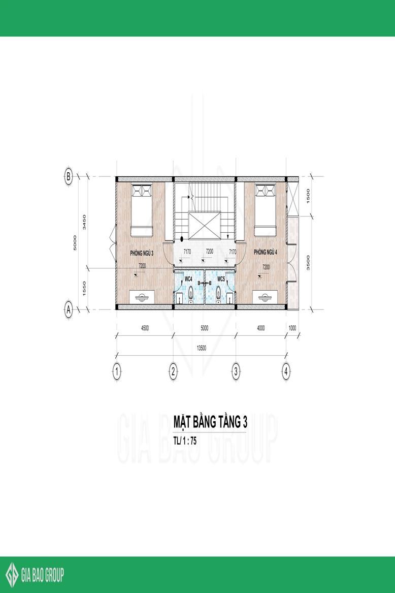 Mặt bằng bản vẽ tầng 3 của mẫu nhà phố 1 trệt 3 lầu đẹp