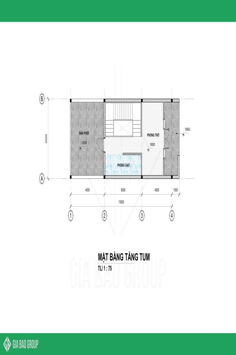 Mặt bằng tầng tum của nhà phố 1 trệt 3 lầu