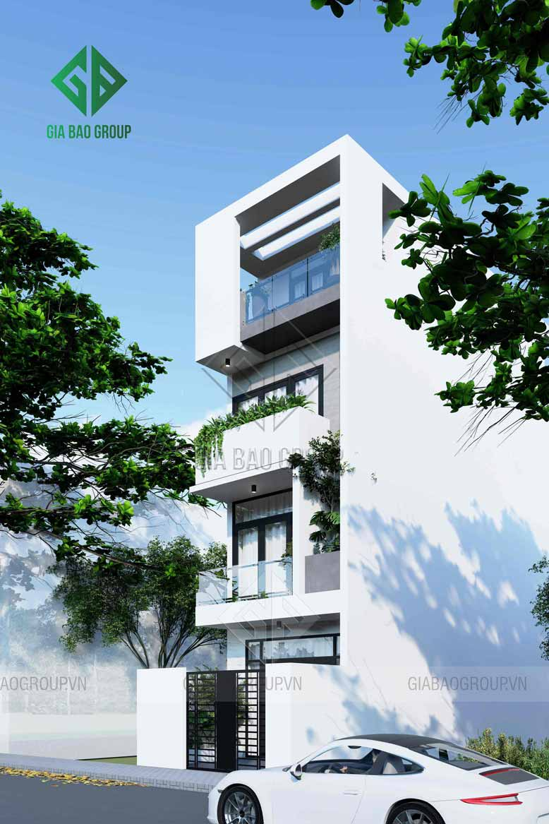 Tông màu trắng tăng thêm sự sang trọng của nhà phố 3 tầng đẹp tại đồng nai