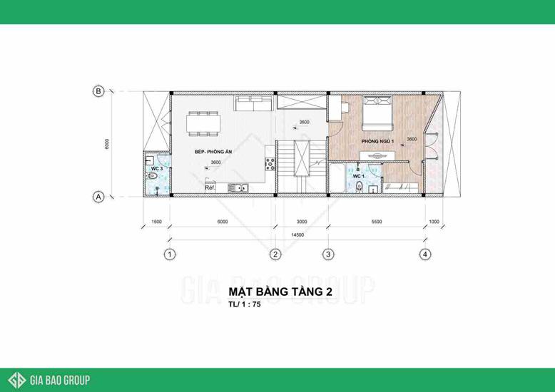 Khu vực bếp tầng 2 của mẫu nhà phố 1 trệt 3 lầu