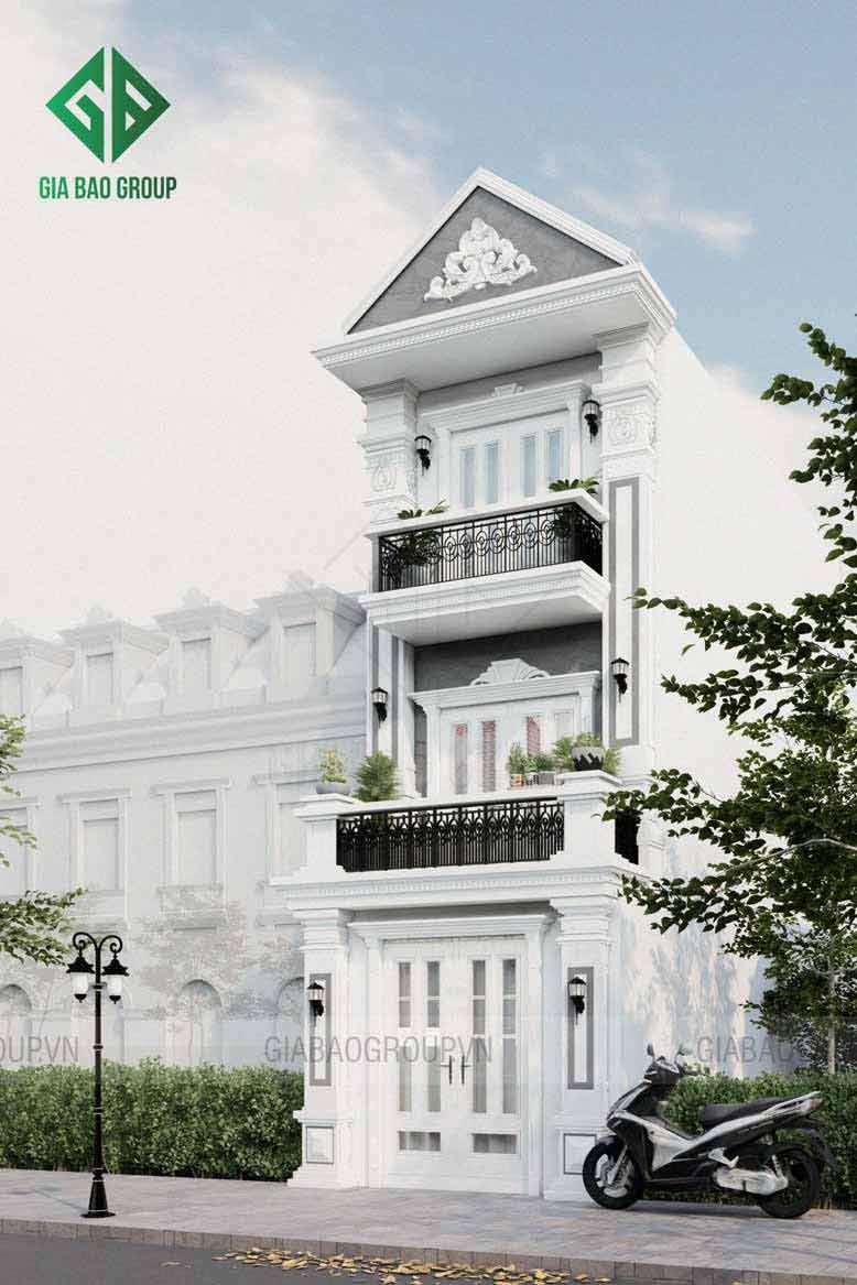 Màu sắc tinh tế đi kèm với thiết kế đơn giản, sang trọng làm cho mẫu nhà phố 3 tầng tân cổ điển trở nên ấn tượng, thu hút ánh nhìn