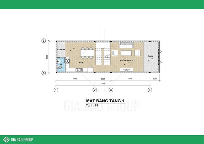 Bản vẽ thiết kế tầng 1 của mẫu nhà phố 3 tầng tân cổ điển