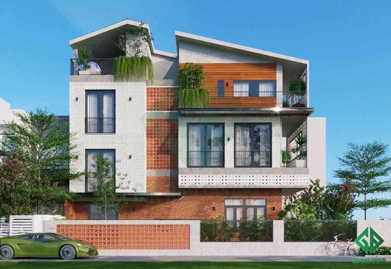 Mẫu thiết kế nhà phố 3 tầng hiện đại hòa mình với các mảng xanh