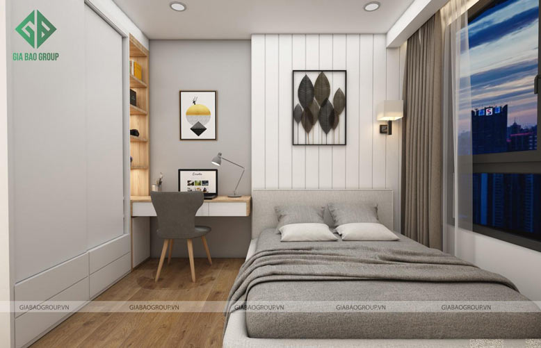 Tổng thể căn hộ 2 phòng ngủ được thiết kế đồng bộ