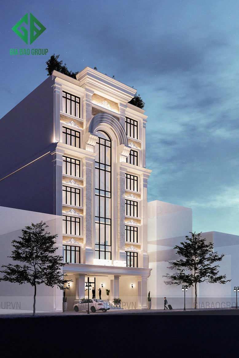 Thiết kế khách sạn tân cổ điển 8 tầng đẹp, sang trọng