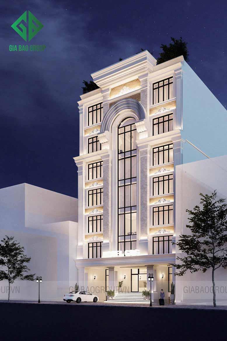 Thiết kế khách sạn tân cổ điển lấy màu trắng là gam màu chủ đạo cho toàn bộ kiến trúc