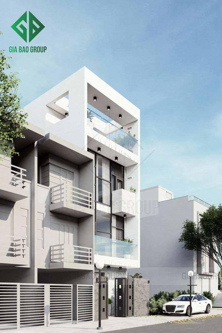 Thiết kế nhà phố 4 tầng phong cách hiện đại