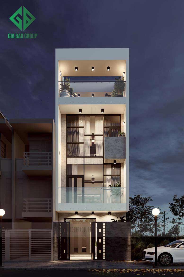 Thiết kế nhà phố 4 tầng gây ấn tượng về cả bố cục lẫn màu sắc
