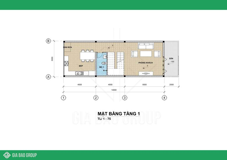 Thiết kế nhà phố 4 tầng - tầng 1 gồm không gian để tiếp khách và bếp