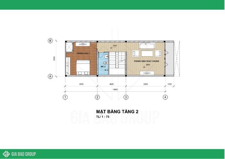 Bản vẽ mặt bằng tầng 2 trong thiết kế nhà phố 4 tầng tiện nghi